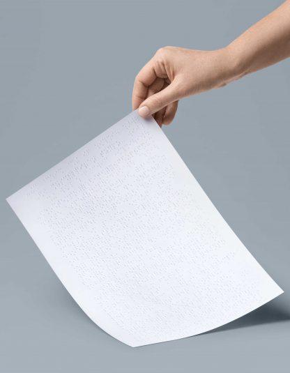 Folheto A4 2 páginas em braille apenas