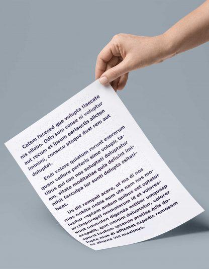 Folheto A4 2 páginas em braille e em letra ampliada