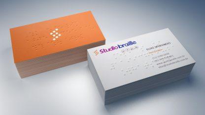 Cartão de visitas em braille e em tinta