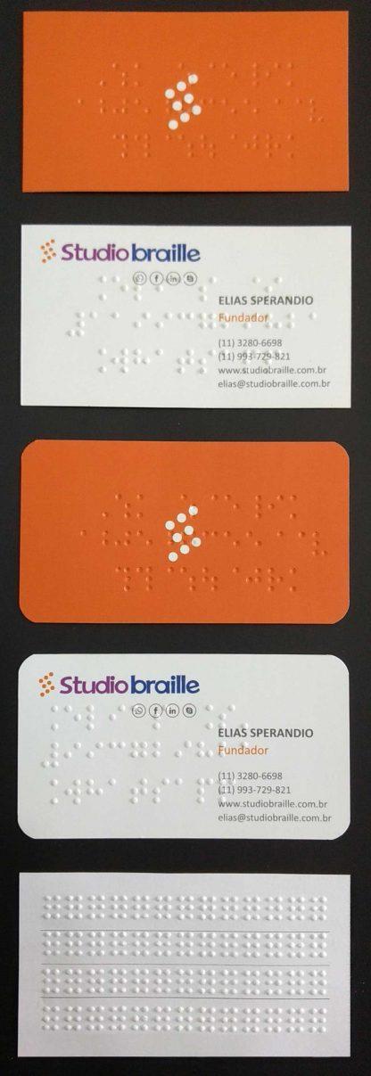 Cartão de visitas em braille e em tinta, cantos arredondados e retos